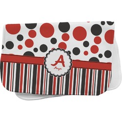 Red & Black Dots & Stripes Burp Cloth (Personalized)