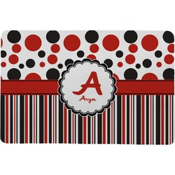 Red & Black Dots & Stripes Comfort Mat (Personalized)