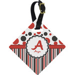 Red & Black Dots & Stripes Diamond Luggage Tag (Personalized)