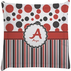 Red & Black Dots & Stripes Euro Sham Pillow Case (Personalized)