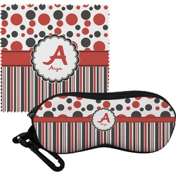 Red & Black Dots & Stripes Eyeglass Case & Cloth (Personalized)