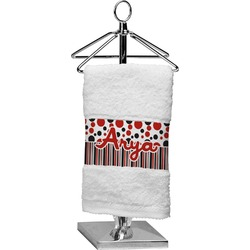 Red & Black Dots & Stripes Finger Tip Towel (Personalized)
