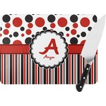Red & Black Dots & Stripes Rectangular Glass Cutting Board (Personalized)