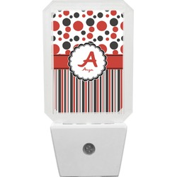 Red & Black Dots & Stripes Night Light (Personalized)