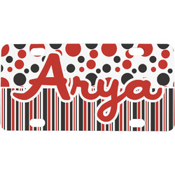 Red & Black Dots & Stripes Mini / Bicycle License Plate (4 Holes) (Personalized)