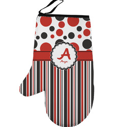 Red & Black Dots & Stripes Left Oven Mitt (Personalized)