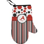 Red & Black Dots & Stripes Oven Mitt (Personalized)