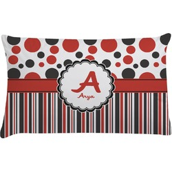 Red & Black Dots & Stripes Pillow Case (Personalized)