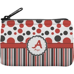 Red & Black Dots & Stripes Rectangular Coin Purse (Personalized)