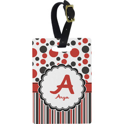 Red & Black Dots & Stripes Rectangular Luggage Tag (Personalized)