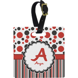 Red & Black Dots & Stripes Square Luggage Tag (Personalized)