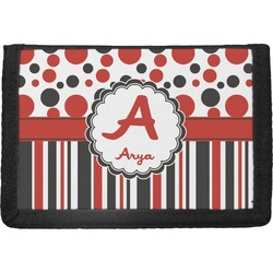 Red & Black Dots & Stripes Trifold Wallet (Personalized)