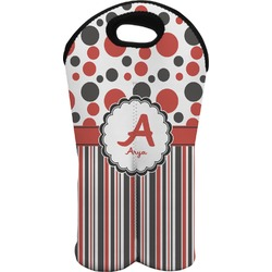 Red & Black Dots & Stripes Wine Tote Bag (2 Bottles) (Personalized)