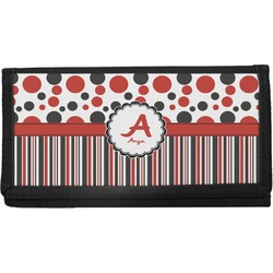 Red & Black Dots & Stripes Canvas Checkbook Cover (Personalized)