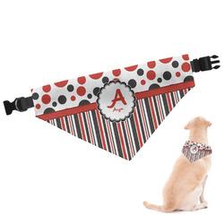 Red & Black Dots & Stripes Dog Bandana (Personalized)