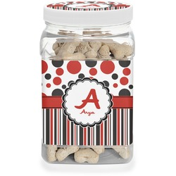 Red & Black Dots & Stripes Dog Treat Jar (Personalized)