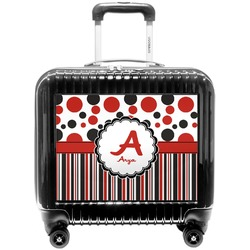 Red & Black Dots & Stripes Pilot / Flight Suitcase (Personalized)
