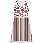 Red & Black Dots & Stripes Racerback Dress (Personalized)