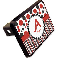 "Red & Black Dots & Stripes Rectangular Trailer Hitch Cover - 2"" (Personalized)"