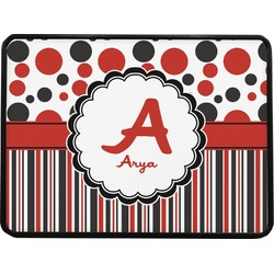 """Red & Black Dots & Stripes Rectangular Trailer Hitch Cover - 1.25"""" (Personalized)"""