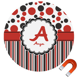 Red & Black Dots & Stripes Car Magnet (Personalized)