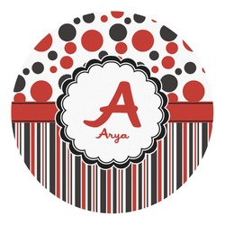 Red & Black Dots & Stripes Round Decal - Custom Size (Personalized)