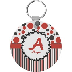 Red & Black Dots & Stripes Round Keychain (Personalized)