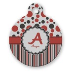 Red & Black Dots & Stripes Round Pet Tag (Personalized)