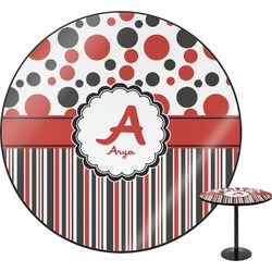 """Red & Black Dots & Stripes Round Table - 24"""" (Personalized)"""