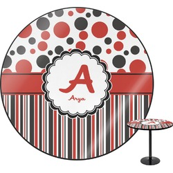 Red & Black Dots & Stripes Round Table (Personalized)