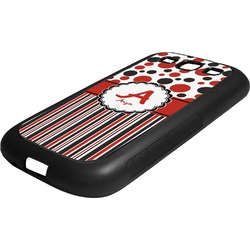 Red & Black Dots & Stripes Rubber Samsung Galaxy 3 Phone Case (Personalized)