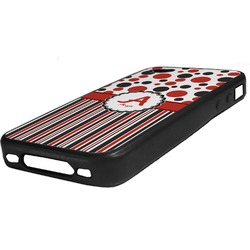 Red & Black Dots & Stripes Rubber iPhone Case 4/4S (Personalized)