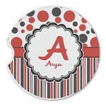 Red & Black Dots & Stripes Sandstone Car Coasters (Personalized)
