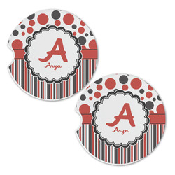 Red & Black Dots & Stripes Sandstone Car Coasters - Set of 2 (Personalized)