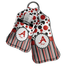 Red & Black Dots & Stripes Hand Sanitizer & Keychain Holder (Personalized)