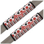 Red & Black Dots & Stripes Seat Belt Covers (Set of 2) (Personalized)