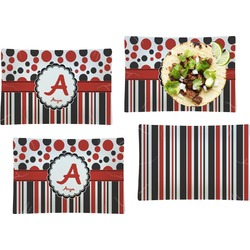 Red & Black Dots & Stripes Set of 4 Rectangular Dinner Plates (Personalized)