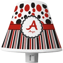 Red & Black Dots & Stripes Shade Night Light (Personalized)