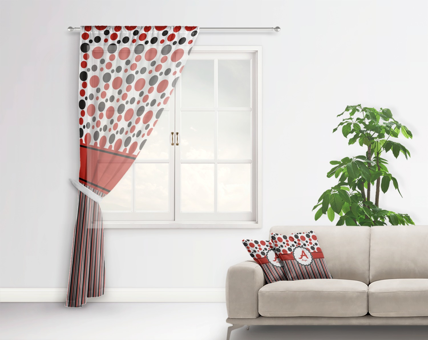 Red Black Dots Stripes Sheer Curtains Personalized Youcustomizeit