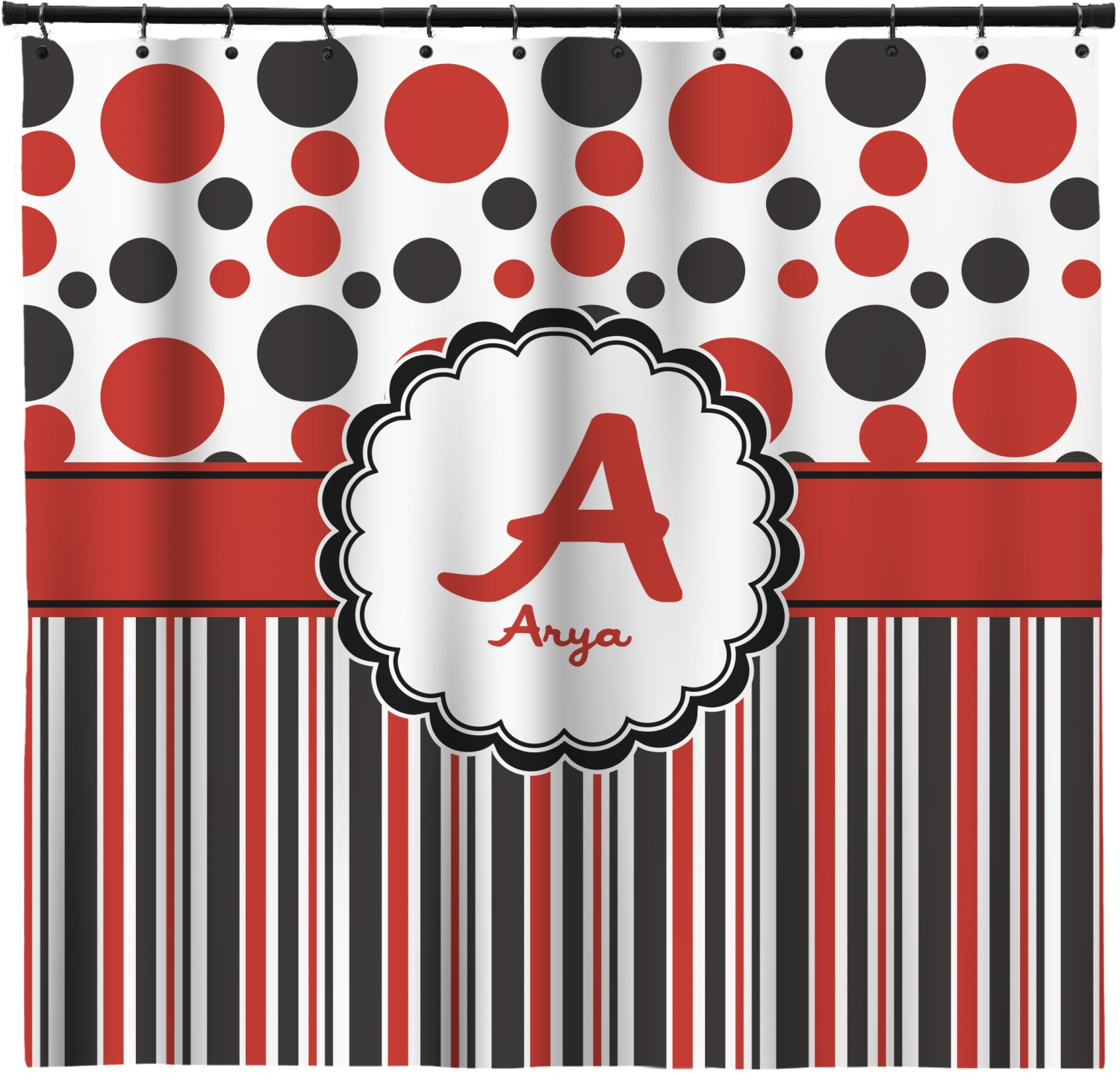 Red & Black Dots & Stripes Shower Curtain (Personalized ...