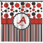 "Red & Black Dots & Stripes Shower Curtain - 71""x74"" (Personalized)"