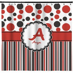 Red & Black Dots & Stripes Shower Curtain (Personalized)