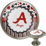 Red & Black Dots & Stripes Cabinet Knob (Silver) (Personalized)