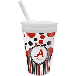 Red & Black Dots & Stripes Sippy Cup with Straw (Personalized)