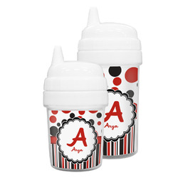 Red & Black Dots & Stripes Sippy Cup (Personalized)