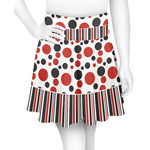 Red & Black Dots & Stripes Skater Skirt (Personalized)