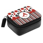 Red & Black Dots & Stripes Small Leatherette Travel Pill Case (Personalized)