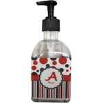 Red & Black Dots & Stripes Soap/Lotion Dispenser (Glass) (Personalized)