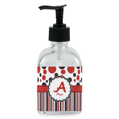 Red Black Dots Stripes Soap Lotion Dispenser Glass