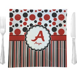 Red & Black Dots & Stripes Square Dinner Plate (Personalized)